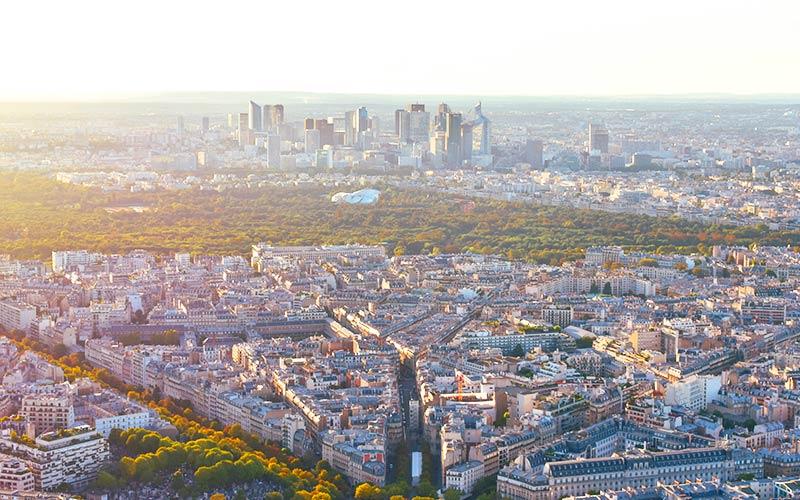 Vue aérienne du 16e et le bois de Boulogne