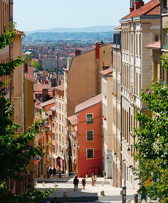 Les pentes de la Croix Rousse à Lyon