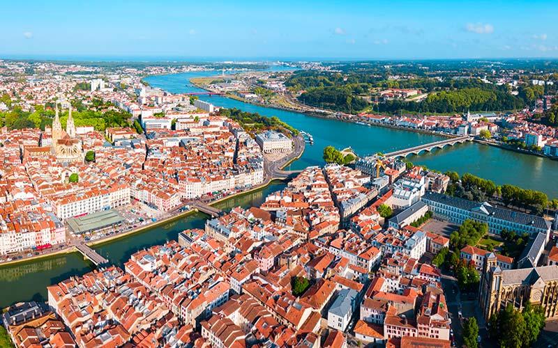 Vue aérienne de Bayonne