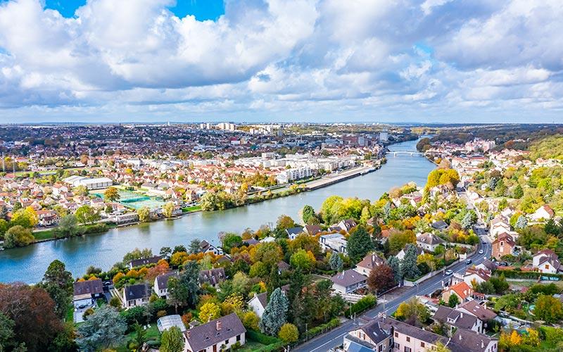 Vue aérienne de Corbeil-Essonnes